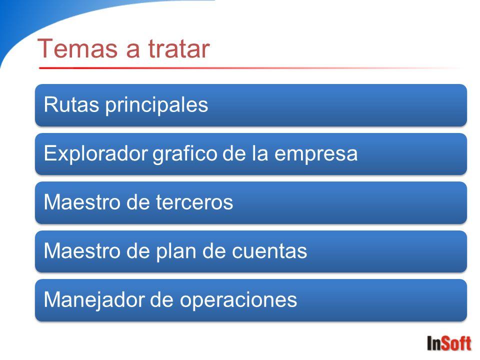Temas a tratar Rutas principalesExplorador grafico de la empresaMaestro de tercerosMaestro de plan de cuentasManejador de operaciones