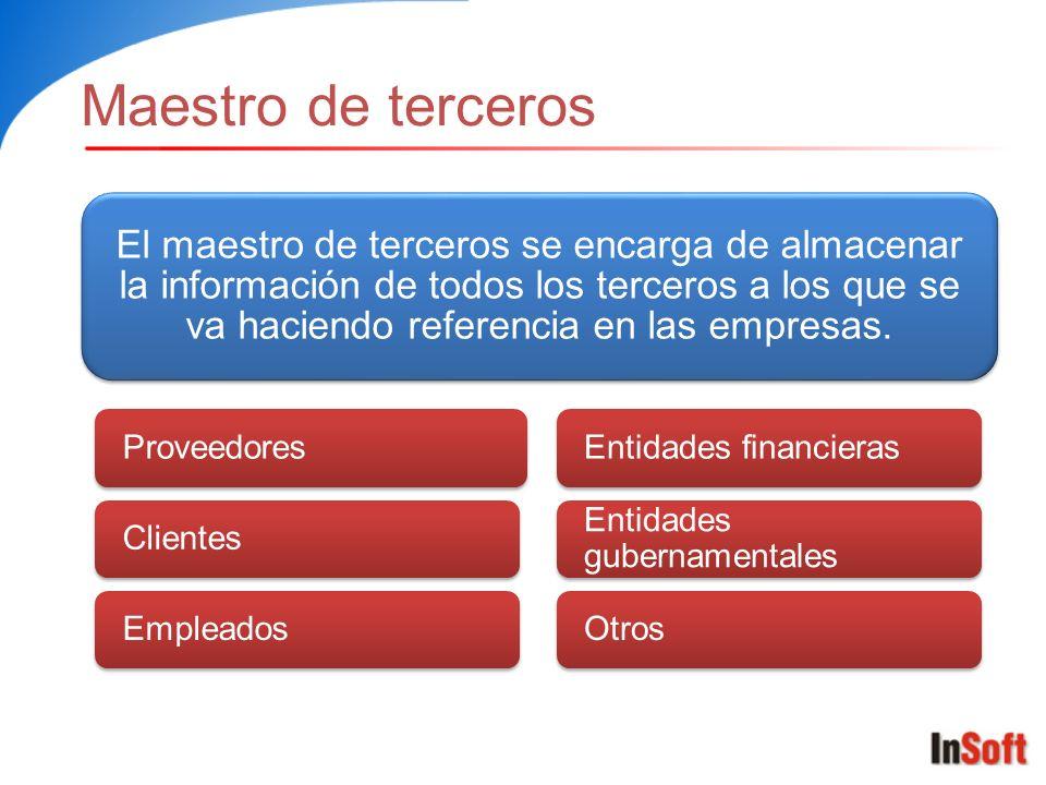 Maestro de terceros El maestro de terceros se encarga de almacenar la información de todos los terceros a los que se va haciendo referencia en las empresas.