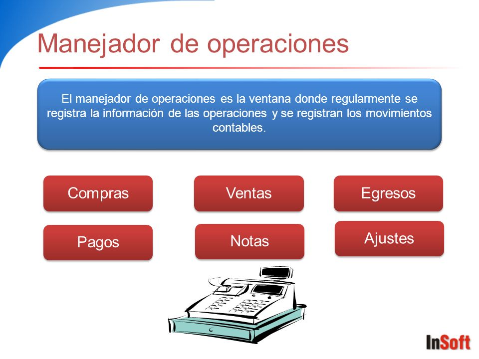 Manejador de operaciones El manejador de operaciones es la ventana donde regularmente se registra la información de las operaciones y se registran los