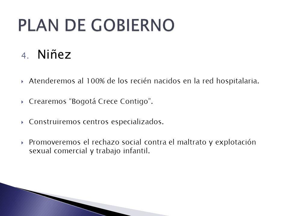 4. Niñez Atenderemos al 100% de los recién nacidos en la red hospitalaria. Crearemos Bogotá Crece Contigo. Construiremos centros especializados. Promo