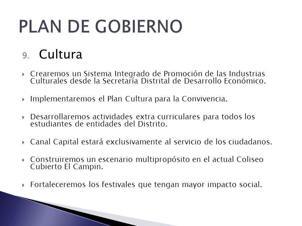 9. Cultura Crearemos un Sistema Integrado de Promoción de las Industrias Culturales desde la Secretaría Distrital de Desarrollo Económico. Implementar