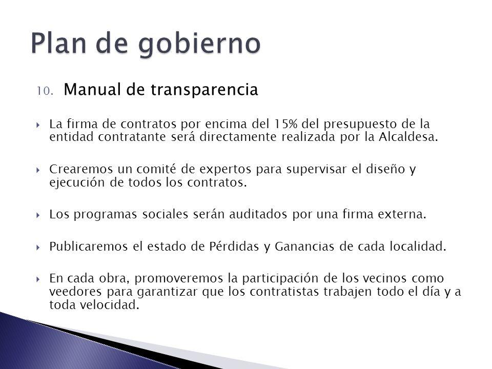 10. Manual de transparencia La firma de contratos por encima del 15% del presupuesto de la entidad contratante será directamente realizada por la Alca