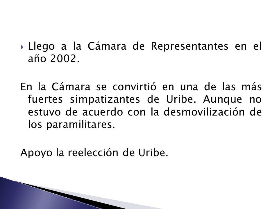 Llego a la Cámara de Representantes en el año 2002. En la Cámara se convirtió en una de las más fuertes simpatizantes de Uribe. Aunque no estuvo de ac