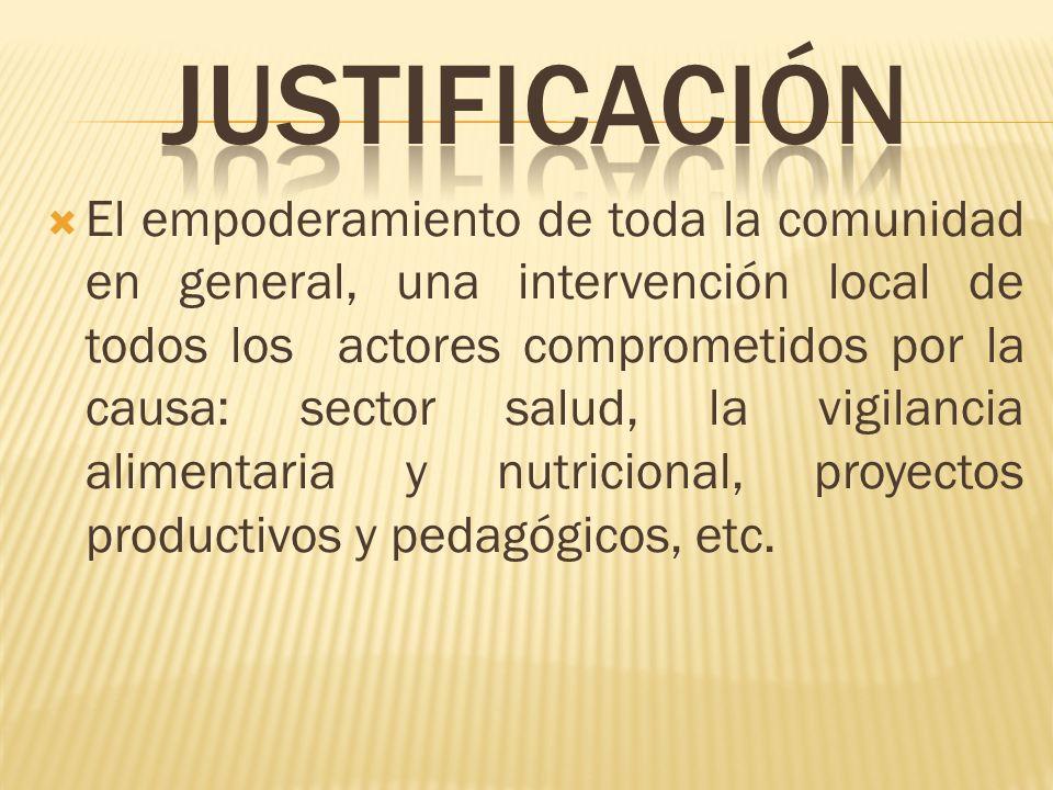 El empoderamiento de toda la comunidad en general, una intervención local de todos los actores comprometidos por la causa: sector salud, la vigilancia