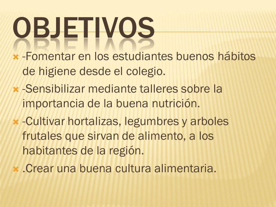 -Fomentar en los estudiantes buenos hábitos de higiene desde el colegio. -Sensibilizar mediante talleres sobre la importancia de la buena nutrición. -