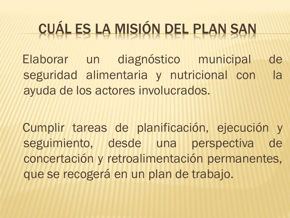 Elaborar un diagnóstico municipal de seguridad alimentaria y nutricional con la ayuda de los actores involucrados. Cumplir tareas de planificación, ej
