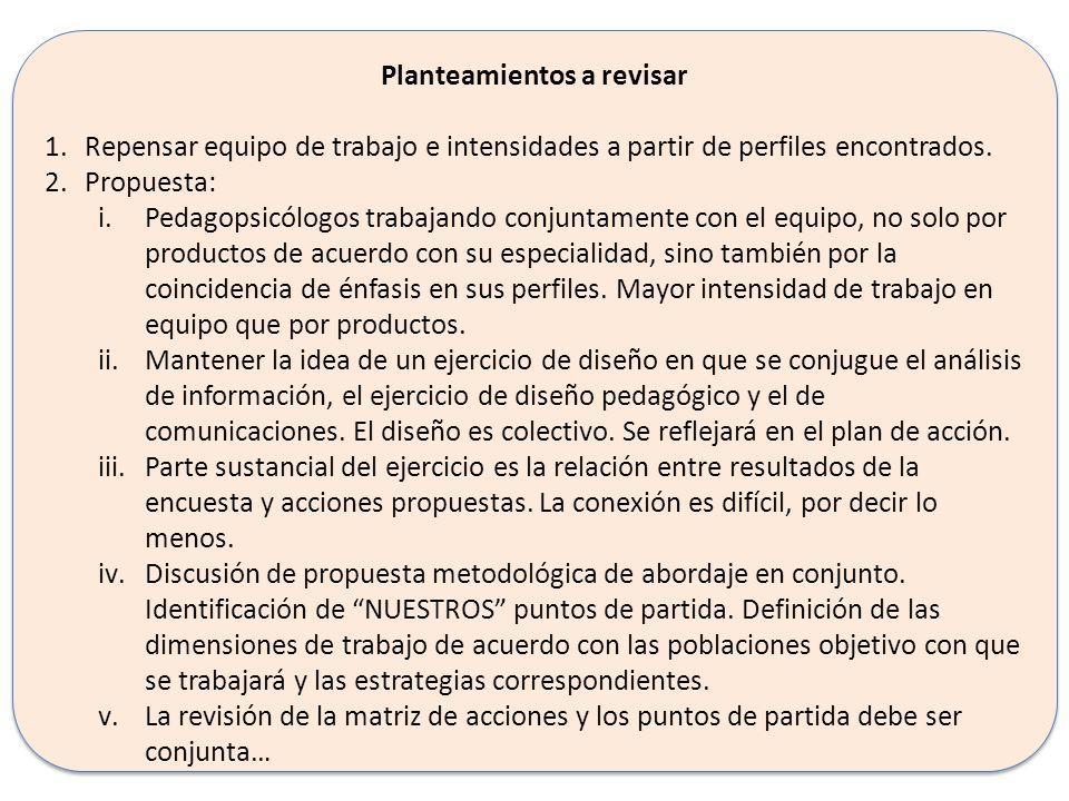 Planteamientos a revisar 1.En el equipo se deben mantener los siguientes perfiles: i.Investigación – sociología.