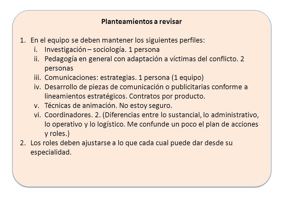 Planteamientos a revisar 1.En el equipo se deben mantener los siguientes perfiles: i.Investigación – sociología. 1 persona ii.Pedagogía en general con