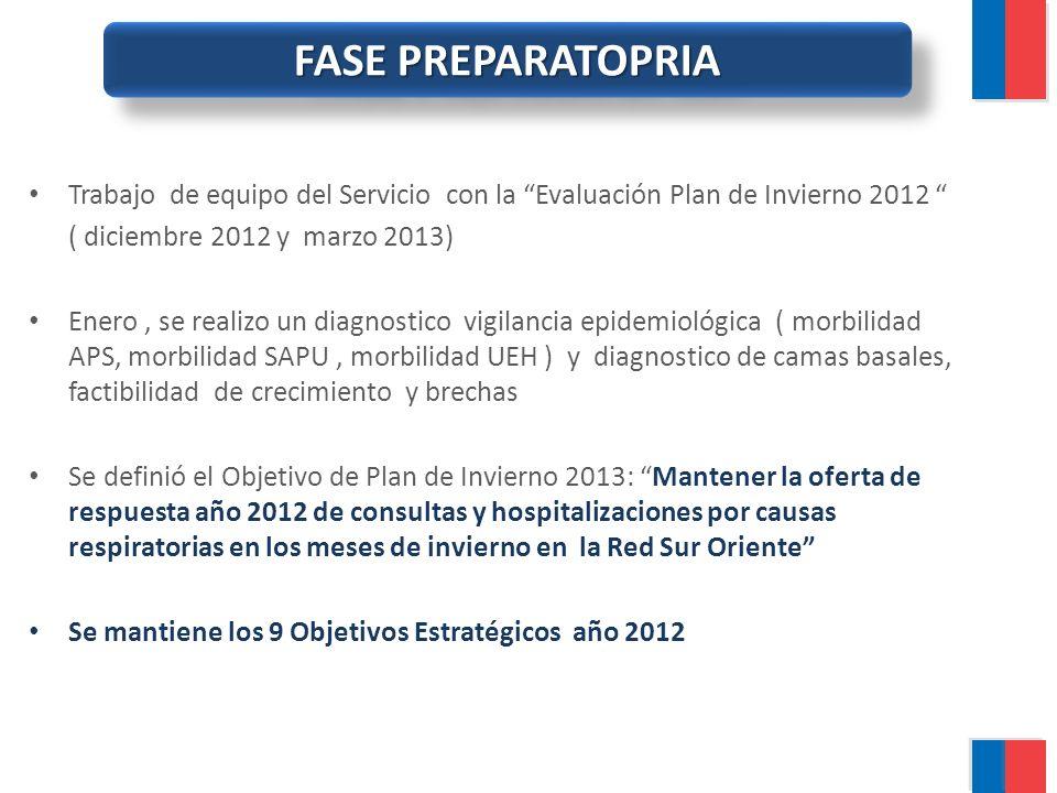 FASE PREPARATOPRIA Trabajo de equipo del Servicio con la Evaluación Plan de Invierno 2012 ( diciembre 2012 y marzo 2013) Enero, se realizo un diagnost