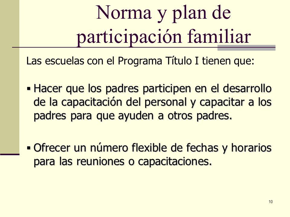 10 Hacer que los padres participen en el desarrollo de la capacitación del personal y capacitar a los padres para que ayuden a otros padres.