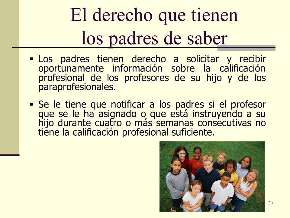 15 El derecho que tienen los padres de saber Los padres tienen derecho a solicitar y recibir oportunamente información sobre la calificación profesional de los profesores de su hijo y de los paraprofesionales.