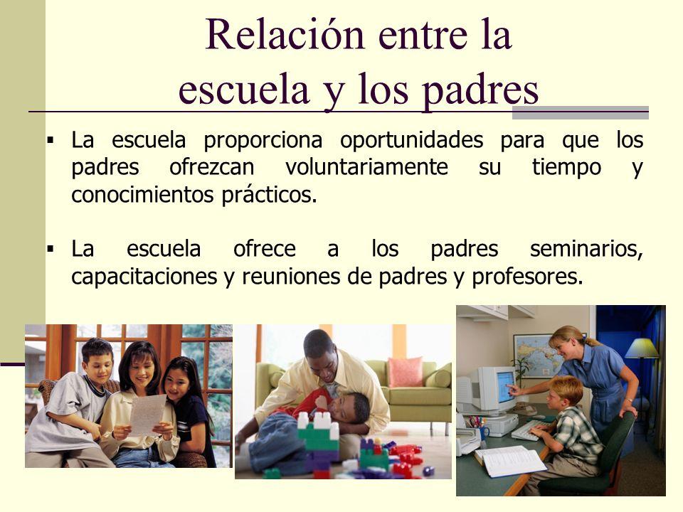19 Relación entre la escuela y los padres La escuela proporciona oportunidades para que los padres ofrezcan voluntariamente su tiempo y conocimientos prácticos.