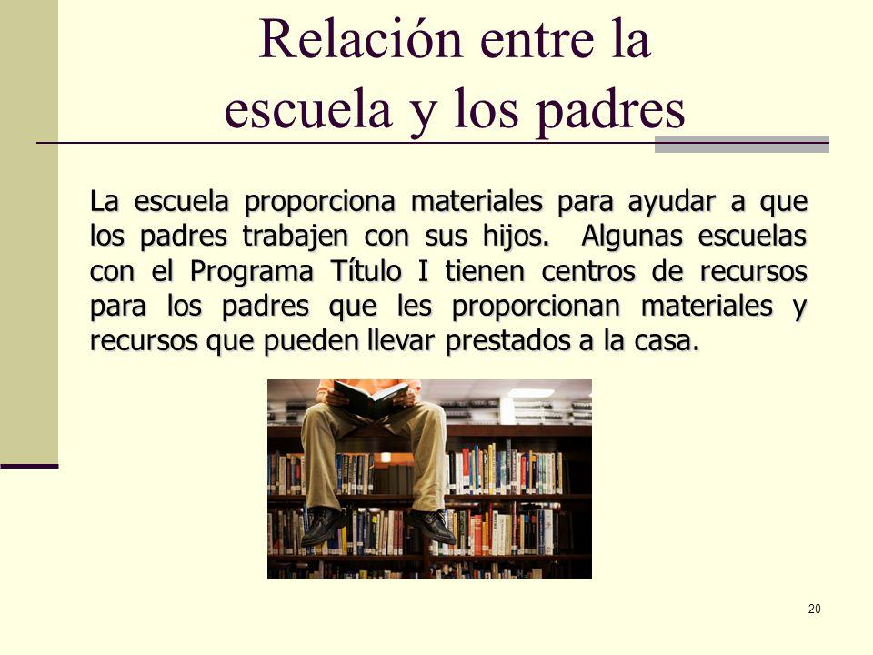 20 Relación entre la escuela y los padres La escuela proporciona materiales para ayudar a que los padres trabajen con sus hijos.