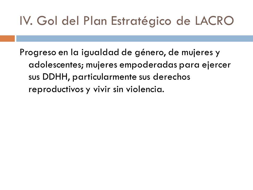 IV. Gol del Plan Estratégico de LACRO Progreso en la igualdad de género, de mujeres y adolescentes; mujeres empoderadas para ejercer sus DDHH, particu