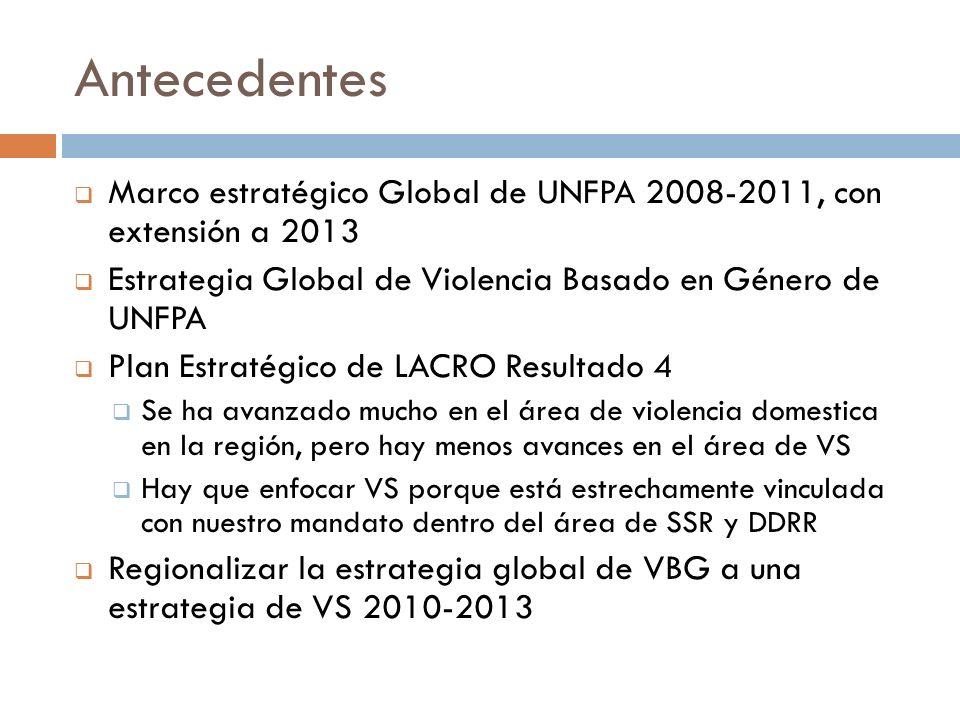 Antecedentes Marco estratégico Global de UNFPA 2008-2011, con extensión a 2013 Estrategia Global de Violencia Basado en Género de UNFPA Plan Estratégico de LACRO Resultado 4 Se ha avanzado mucho en el área de violencia domestica en la región, pero hay menos avances en el área de VS Hay que enfocar VS porque está estrechamente vinculada con nuestro mandato dentro del área de SSR y DDRR Regionalizar la estrategia global de VBG a una estrategia de VS 2010-2013