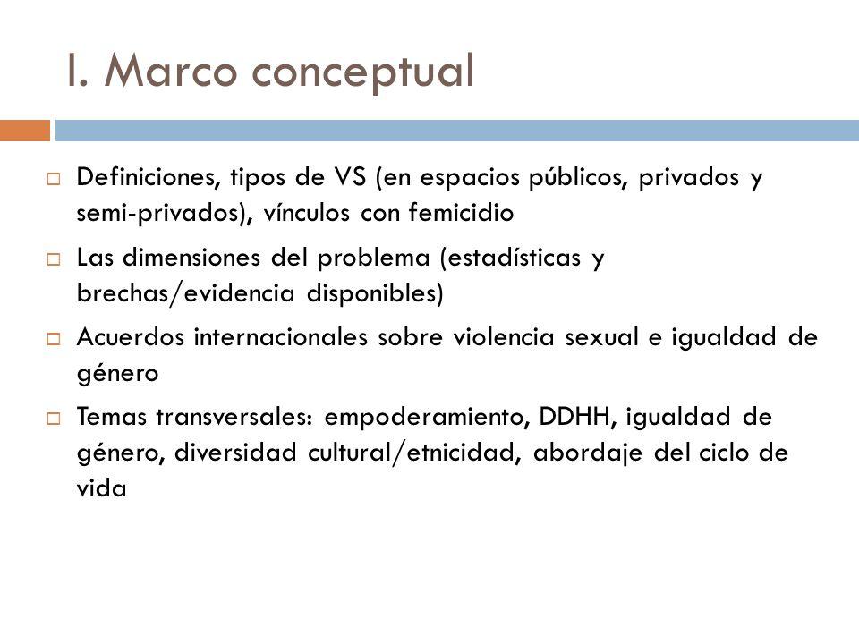 I. Marco conceptual Definiciones, tipos de VS (en espacios públicos, privados y semi-privados), vínculos con femicidio Las dimensiones del problema (e