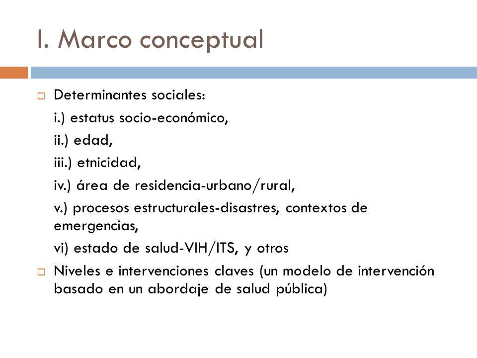 I. Marco conceptual Determinantes sociales: i.) estatus socio-económico, ii.) edad, iii.) etnicidad, iv.) área de residencia-urbano/rural, v.) proceso
