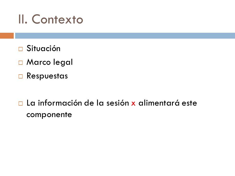 II. Contexto Situación Marco legal Respuestas La información de la sesión x alimentará este componente