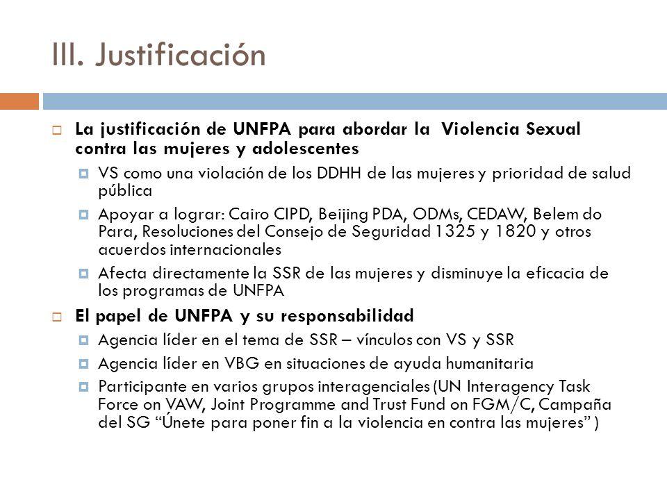 III. Justificación La justificación de UNFPA para abordar la Violencia Sexual contra las mujeres y adolescentes VS como una violación de los DDHH de l