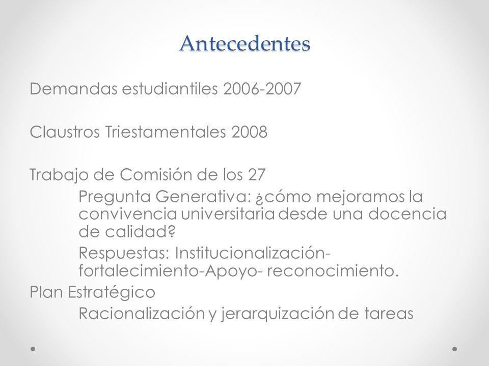 Antecedentes Demandas estudiantiles 2006-2007 Claustros Triestamentales 2008 Trabajo de Comisión de los 27 Pregunta Generativa: ¿cómo mejoramos la convivencia universitaria desde una docencia de calidad.