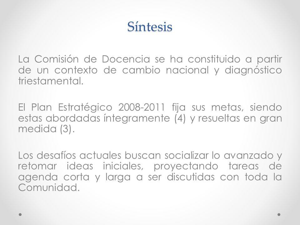 Síntesis La Comisión de Docencia se ha constituido a partir de un contexto de cambio nacional y diagnóstico triestamental.