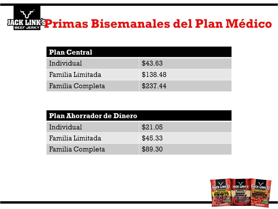 Primas Bisemanales del Plan Médico 13 Plan Central Individual$43.63 Familia Limitada$138.48 Familia Completa$237.44 Core Plan Plan Ahorrador de Dinero Individual$21.05 Familia Limitada$45.33 Familia Completa$89.30