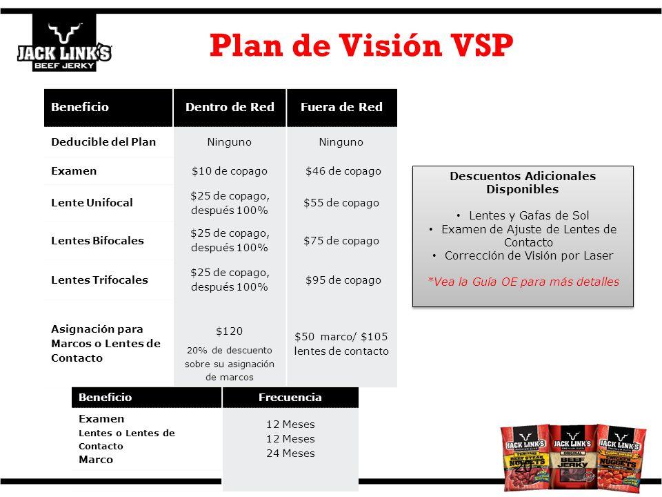 Plan de Visión VSP 20 BeneficioDentro de RedFuera de Red Deducible del PlanNinguno Examen$10 de copago $46 de copago Lente Unifocal $25 de copago, des
