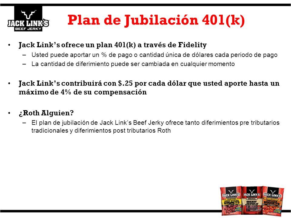 Plan de Jubilación 401(k) Jack Links ofrece un plan 401(k) a través de Fidelity –Usted puede aportar un % de pago o cantidad única de dólares cada per