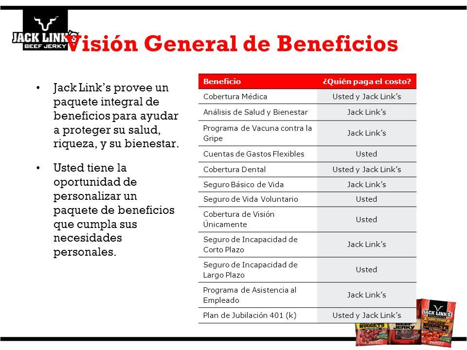 Visión General de Beneficios Jack Links provee un paquete integral de beneficios para ayudar a proteger su salud, riqueza, y su bienestar. Usted tiene