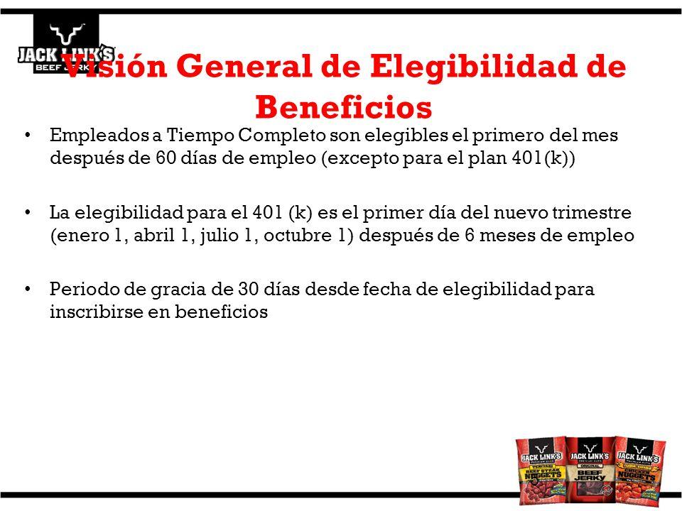 Visión General de Elegibilidad de Beneficios Empleados a Tiempo Completo son elegibles el primero del mes después de 60 días de empleo (excepto para e