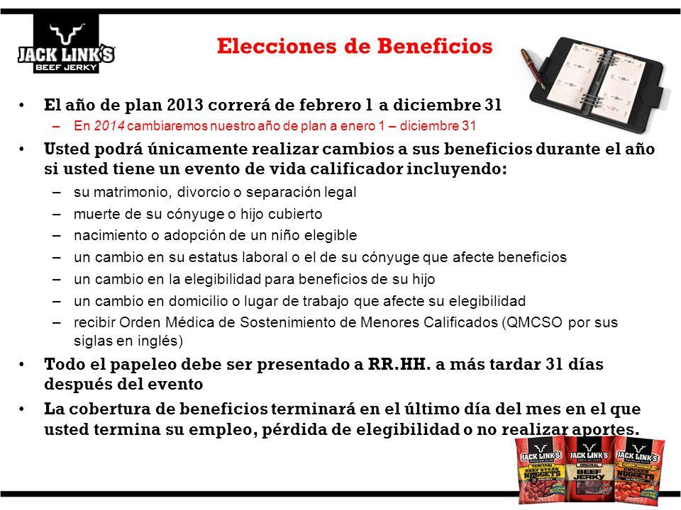 Elecciones de Beneficios El año de plan 2013 correrá de febrero 1 a diciembre 31 –En 2014 cambiaremos nuestro año de plan a enero 1 – diciembre 31 Ust