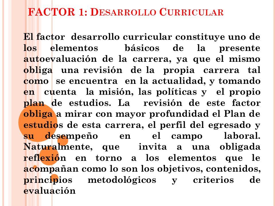 FACTOR 1: D ESARROLLO C URRICULAR El factor desarrollo curricular constituye uno de los elementos básicos de la presente autoevaluación de la carrera,