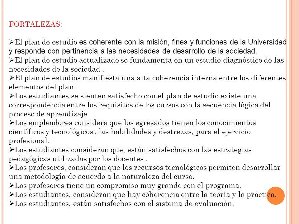 FORTALEZAS: El plan de estudio es coherente con la misión, fines y funciones de la Universidad y responde con pertinencia a las necesidades de desarro