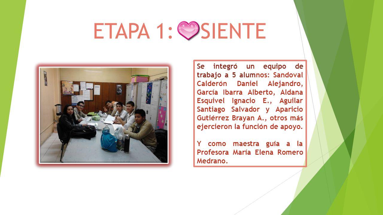 ETAPA 1: SIENTE Se integró un equipo de trabajo a 5 alumnos: Sandoval Calderón Daniel Alejandro, García Ibarra Alberto, Aldana Esquivel Ignacio E., Ag