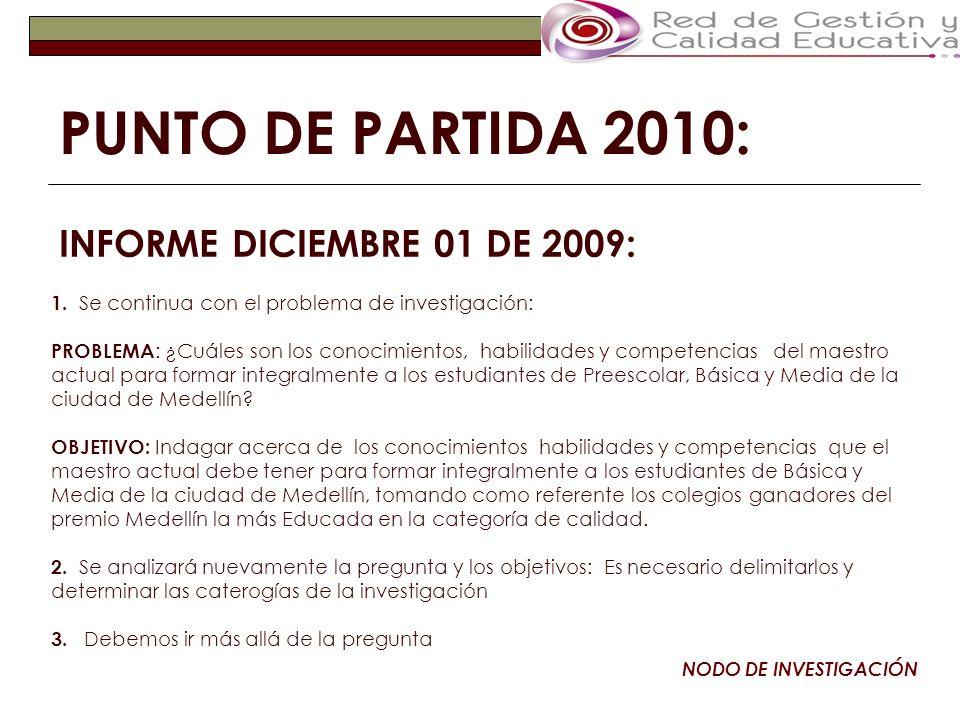 SUGERENCIAS 2009: NODO DE INVESTIGACIÓN 1.