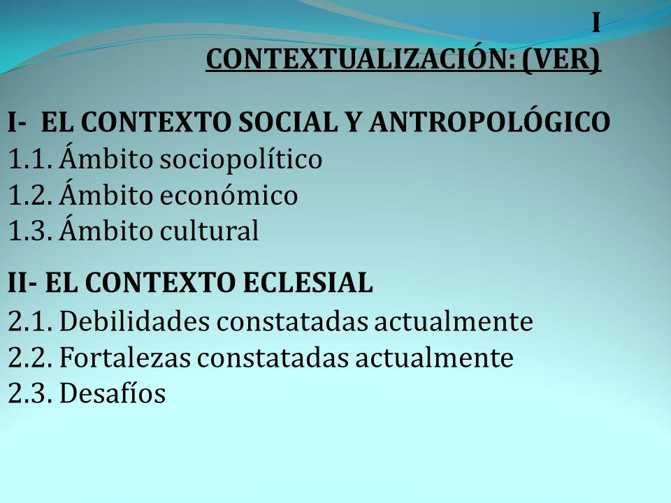 I CONTEXTUALIZACIÓN: (VER) I- EL CONTEXTO SOCIAL Y ANTROPOLÓGICO 1.1. Ámbito sociopolítico 1.2. Ámbito económico 1.3. Ámbito cultural II- EL CONTEXTO