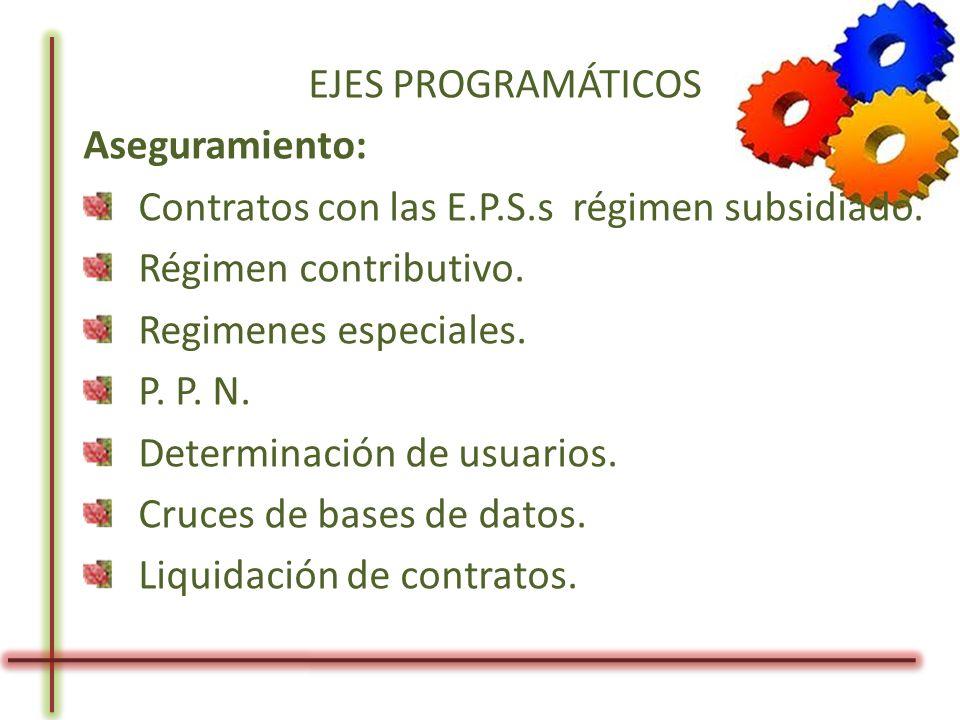 EJES PROGRAMÁTICOS Aseguramiento: Contratos con las E.P.S.s régimen subsidiado. Régimen contributivo. Regimenes especiales. P. P. N. Determinación de