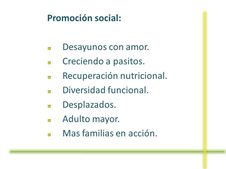 Promoción social: Desayunos con amor. Creciendo a pasitos. Recuperación nutricional. Diversidad funcional. Desplazados. Adulto mayor. Mas familias en
