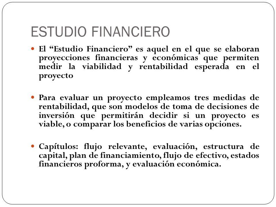 ESTUDIO FINANCIERO El Estudio Financiero es aquel en el que se elaboran proyecciones financieras y económicas que permiten medir la viabilidad y renta