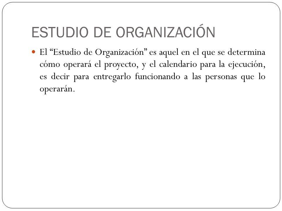 ESTUDIO DE ORGANIZACIÓN El Estudio de Organización es aquel en el que se determina cómo operará el proyecto, y el calendario para la ejecución, es dec