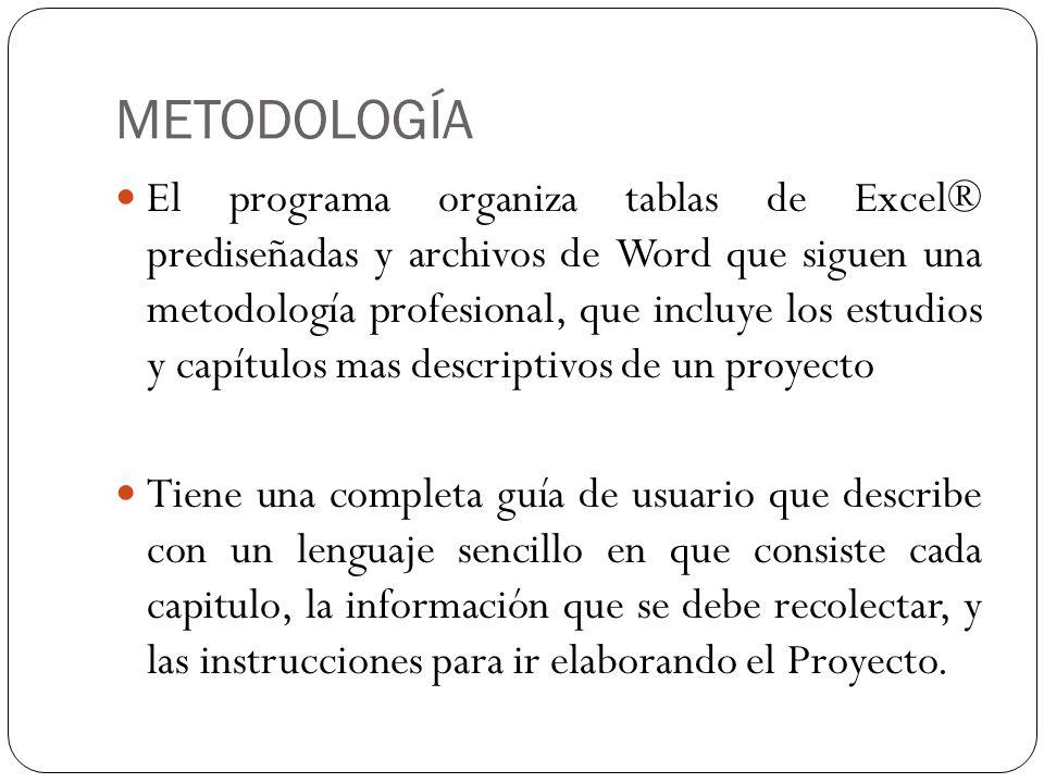 METODOLOGÍA El programa organiza tablas de Excel® prediseñadas y archivos de Word que siguen una metodología profesional, que incluye los estudios y c