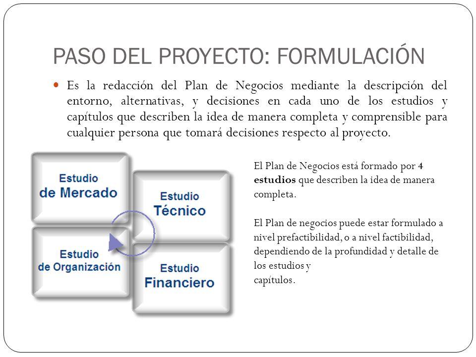 PASO DEL PROYECTO: FORMULACIÓN Es la redacción del Plan de Negocios mediante la descripción del entorno, alternativas, y decisiones en cada uno de los