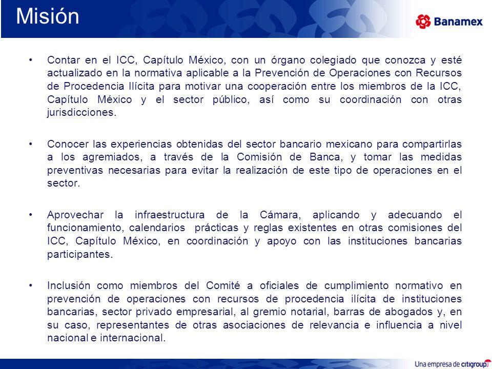 Misión Contar en el ICC, Capítulo México, con un órgano colegiado que conozca y esté actualizado en la normativa aplicable a la Prevención de Operacio