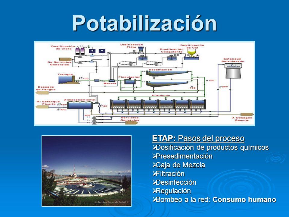 Potabilización ETAP: Pasos del proceso Dosificación de productos químicos Dosificación de productos químicos Presedimentación Presedimentación Caja de