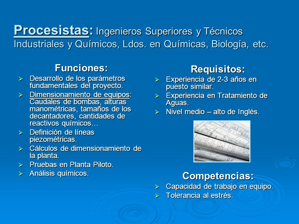 Funciones: Desarrollo de los parámetros fundamentales del proyecto. Desarrollo de los parámetros fundamentales del proyecto. Dimensionamiento de equip