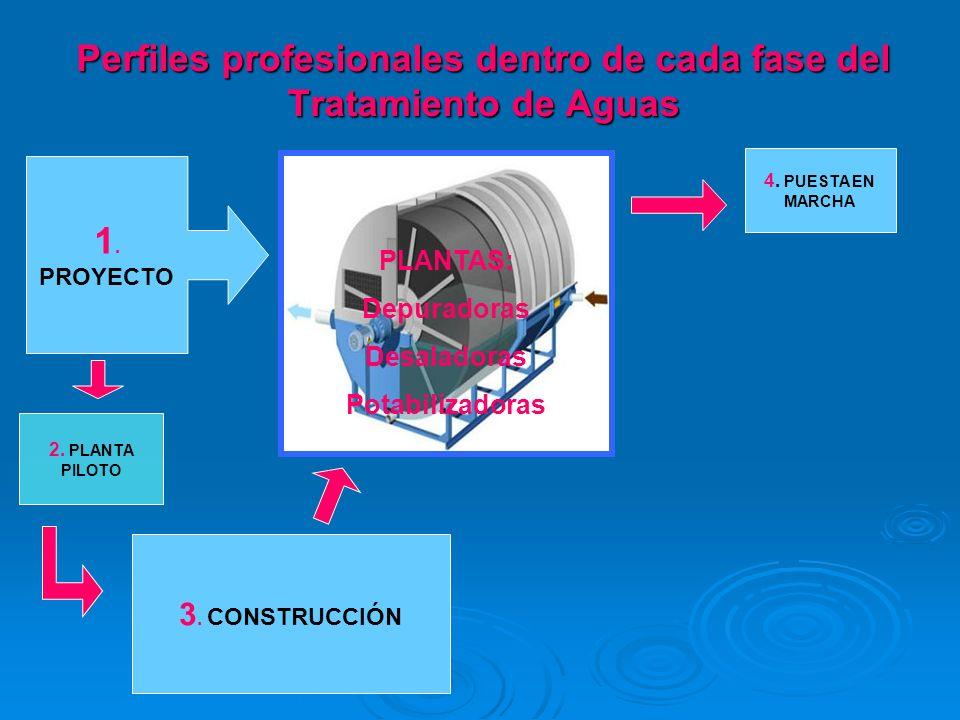 1. PROYECTO 2. PLANTA PILOTO 3. CONSTRUCCIÓN 4. PUESTA EN MARCHA PLANTAS: Depuradoras Desaladoras Potabilizadoras Perfiles profesionales dentro de cad