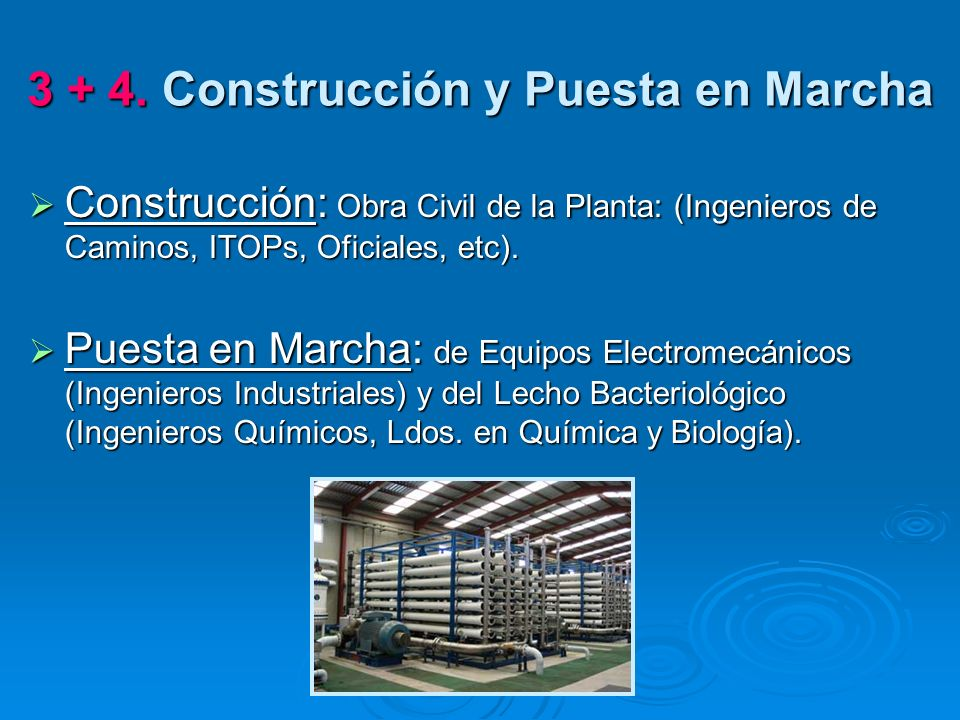 3 + 4. Construcción y Puesta en Marcha Construcción: Obra Civil de la Planta: (Ingenieros de Caminos, ITOPs, Oficiales, etc). Construcción: Obra Civil
