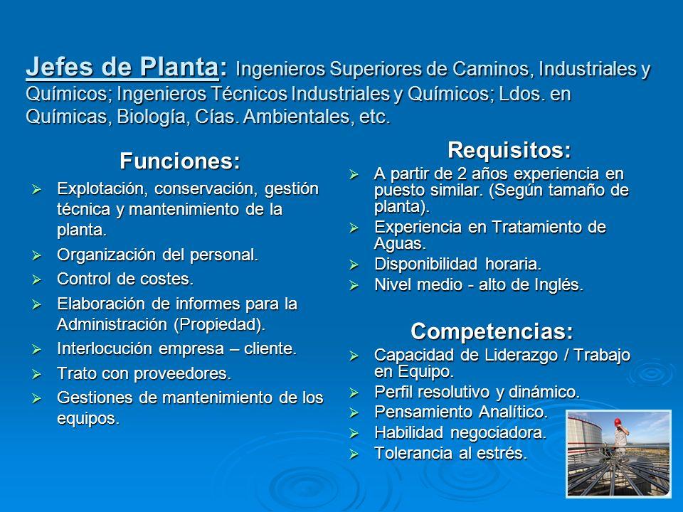 Funciones: Explotación, conservación, gestión técnica y mantenimiento de la planta. Explotación, conservación, gestión técnica y mantenimiento de la p