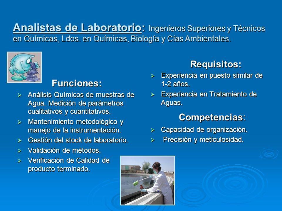 Funciones: Análisis Químicos de muestras de Agua. Medición de parámetros cualitativos y cuantitativos. Análisis Químicos de muestras de Agua. Medición