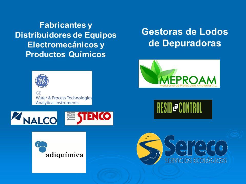 Fabricantes y Distribuidores de Equipos Electromecánicos y Productos Químicos Gestoras de Lodos de Depuradoras
